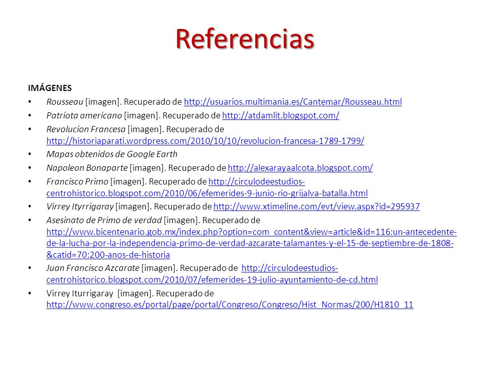 Referencias IMÁGENES. Rousseau [imagen]. Recuperado de http://usuarios.multimania.es/Cantemar/Rousseau.html.